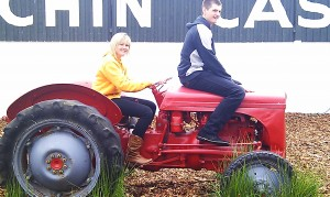 Kirsty and Calum on a tractor