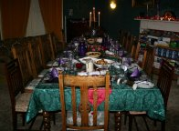The table set for Christmas dinner